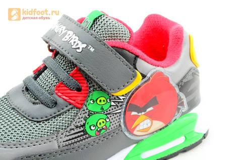 Светящиеся кроссовки для мальчиков Энгри Бердс (Angry Birds) на липучках, цвет темно серый, мигает картинка сбоку. Изображение 13 из 15.