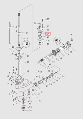 Стакан помпы для лодочного мотора T9.8 Sea-PRO (13-24)