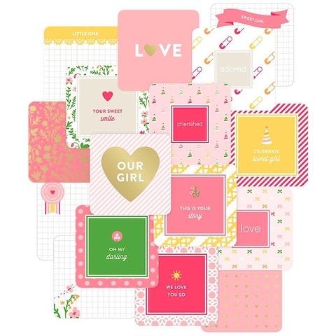 "Набор карточек ""Baby Girl"" для Project life 12 шт"