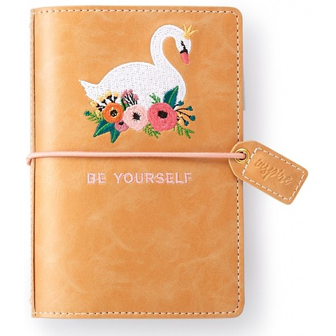 Блокнот Color Crush Collection - Pocket Traveler's Notebook Planner  (10,8 х 15 см )-Embroidered Swan