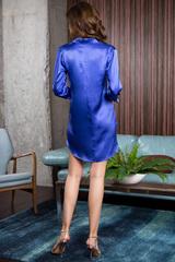 Рубашка женская шелковая для дома и отдыха синяя