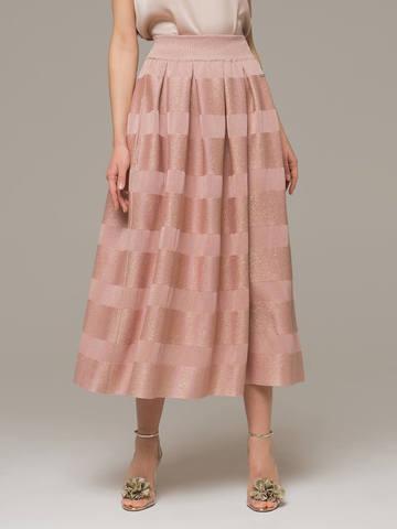 Женская юбка миди розового цвета - фото 3