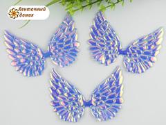 Декор крылья с переливом большие голубые с розовым