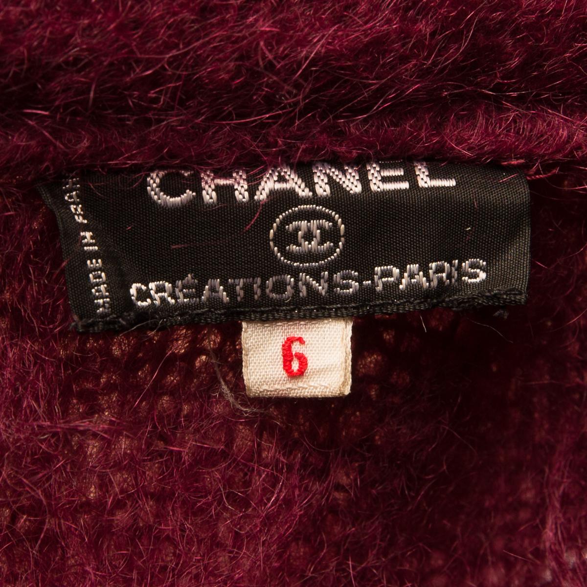 Уютное пальто из мохера бордового цвета от Chanel, 38-40 размер.