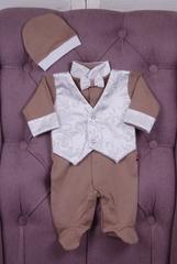 Комплект на выписку для мальчика Кристофер белый с коричневым
