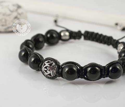 BS628 Черный браслет шамбала из агата с металлической фурнитурой. &#34Boroda Design&#34