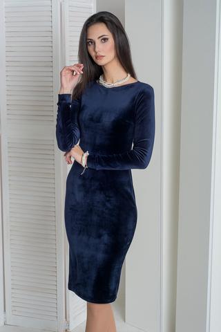 Сати. Облегающее, изысканное велюровое платье. Синий