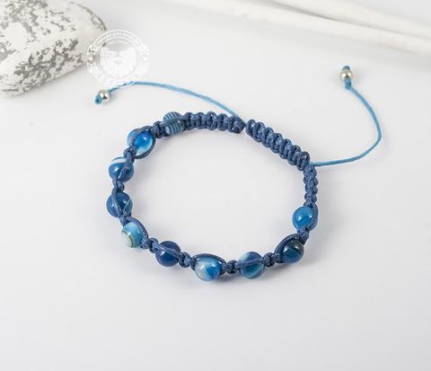 BS629 Мужской браслет ярко синего цвета из агата, ручная работа. &#34Boroda Design&#34