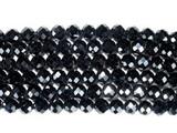 Нить бусин из шпинели черной, фигурные, 6 мм (шар, граненые)