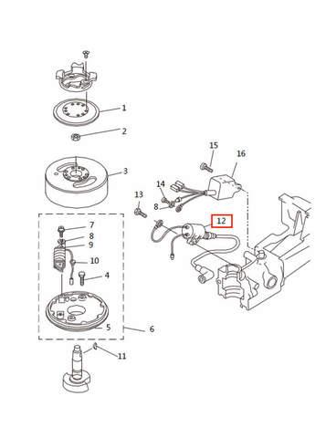 Катушка зажигания со свеч. проводом для лодочного мотора T2,5 SEA-PRO (5-12)