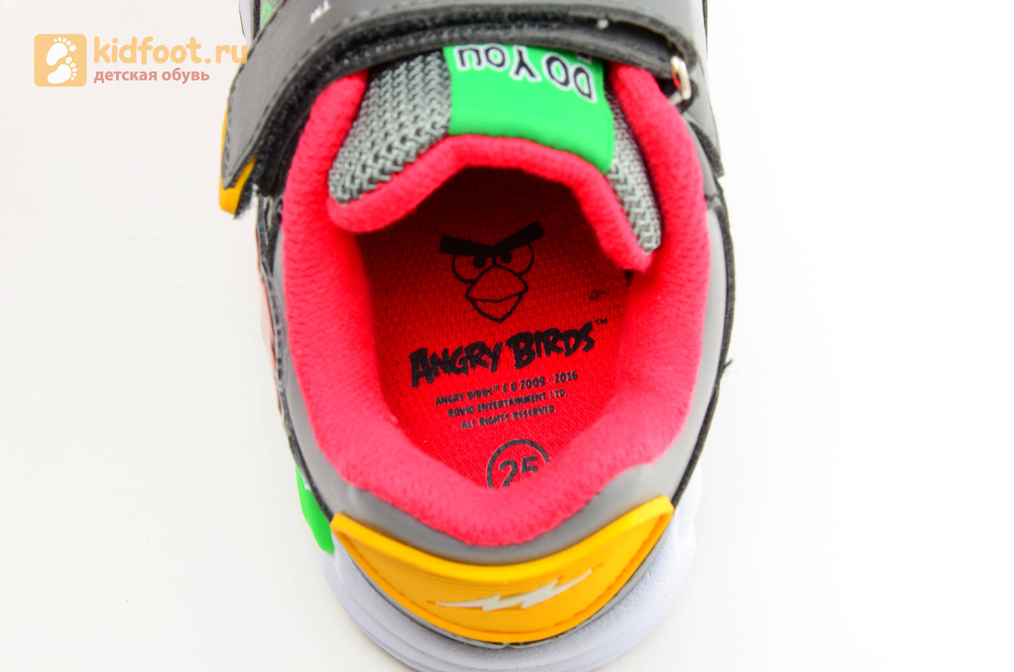 Светящиеся кроссовки для мальчиков Энгри Бердс (Angry Birds) на липучках, цвет темно серый, мигает картинка сбоку