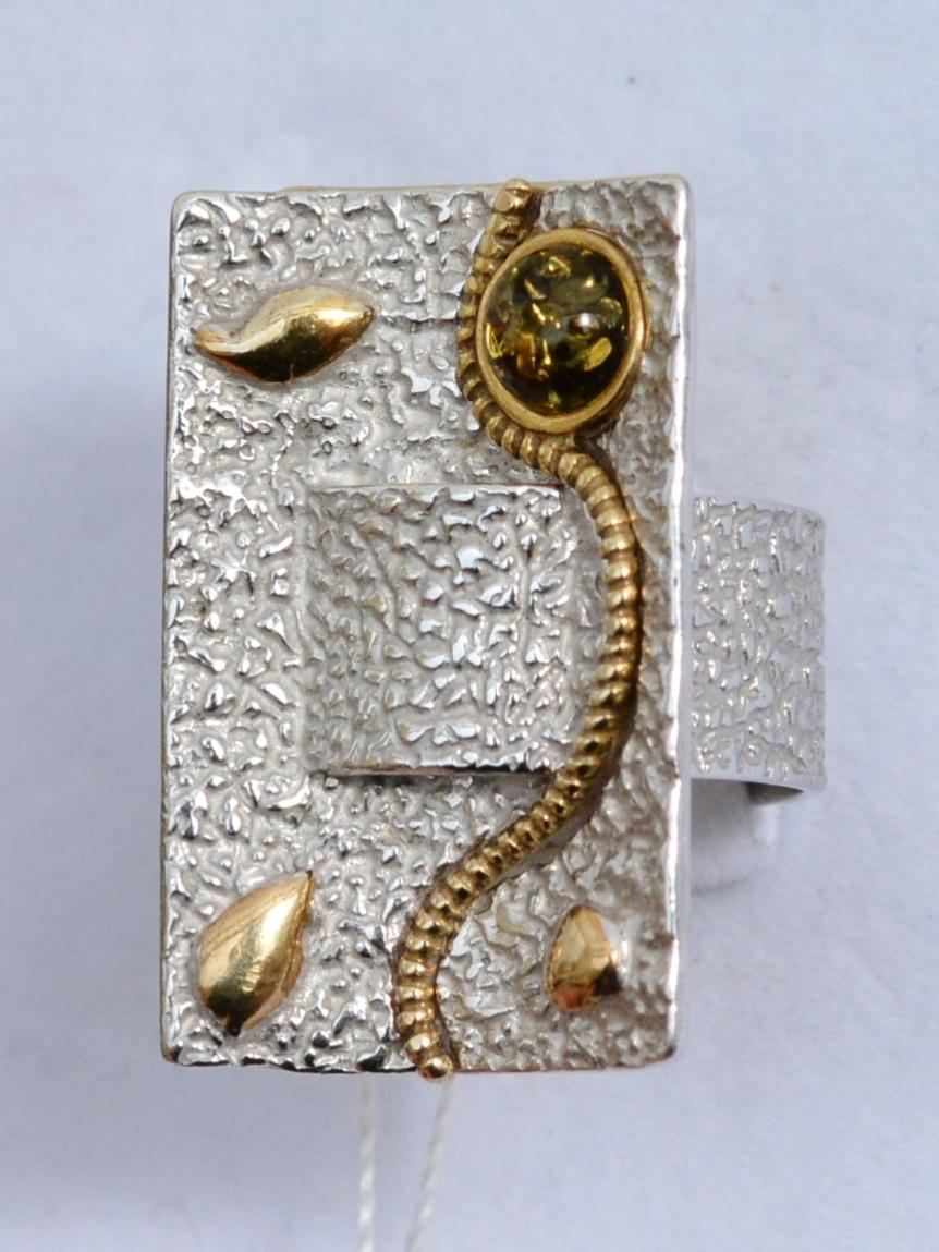 Амибия зеленый (кольцо из серебра)