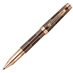 Ручка-роллер Parker Premier Luxury 2013, T560, цвет: коричневый и розовый золотистый (Brown PGT), стержень: чернила черного цвета, 1876378
