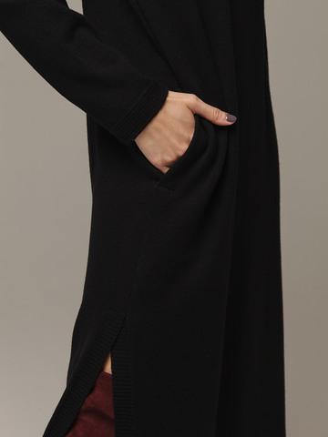 Женское черное платье с разрезами из шерсти и кашемира - фото 4
