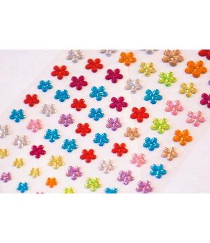 Стразы самоклеющиеся цветочки разного размера 78 шт разноцветные
