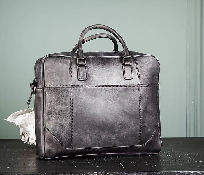 LeatherBull, Мужская кожаная сумка портфель с ремнем
