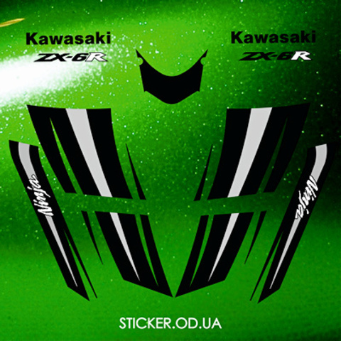 Набор виниловых наклеек на мотоцикл KAWASAKI ZX-6R, Ninja, 2008