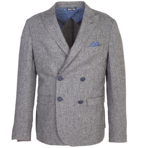 Серый двубортный шерстяной пиджак