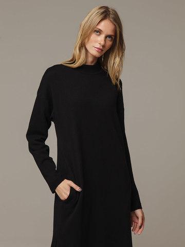 Женское черное платье с разрезами из шерсти и кашемира - фото 2