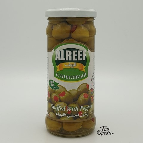 Оливки фаршированные сладким перцем ALREEF, 400 гр