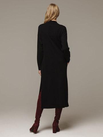 Женское черное платье с разрезами из шерсти и кашемира - фото 3