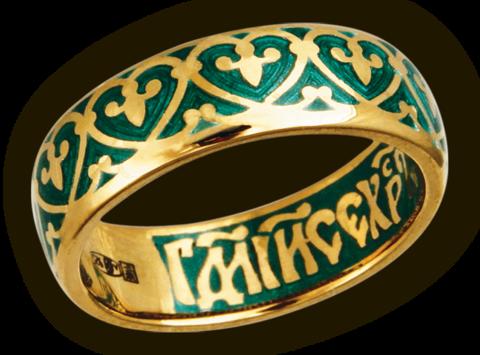Кольцо. Византийский цветок. Иисусова молитва. Эмаль.