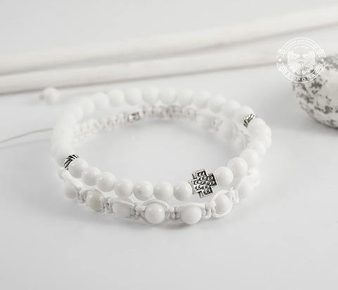 BS635 Пара мужских браслетов белого цвета из натуральных камней.