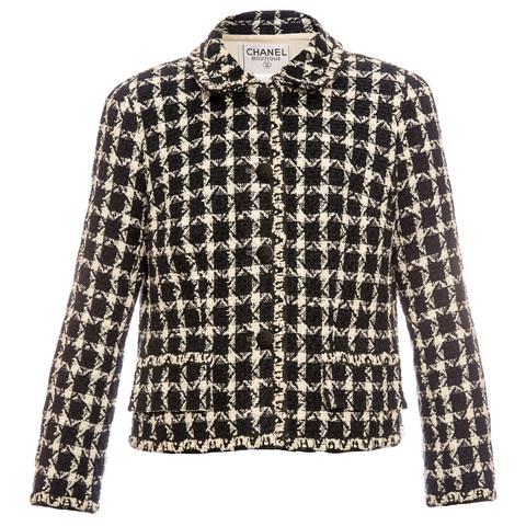Лаконичный твидовый пиджак Chanel в черно-белой цветовой гамме, 44 размер
