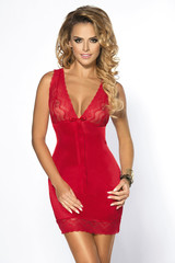 Сорочка женская сексуальная красная приталенная
