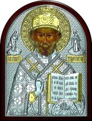 Серебряная с золочением икона святителя Николая Чудотворца (Угодника) 11х9см