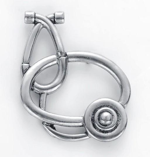 Брошь Стетоскоп (серебряный цвет)