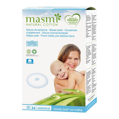 Впитывающие вкладыши для груди из органического хлопка для кормящих матерей (MASMI NATURAL COTTON)