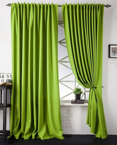 Портьеры рогожка  Ибица зеленый