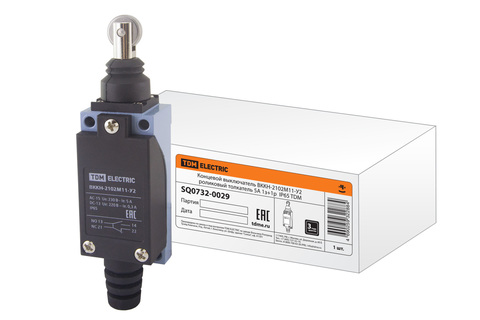 Концевой выключатель ВККН-2102М11-У2 роликовый толкатель 5А 1з+1р  IP65 TDM