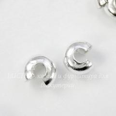 Бусина для маскировки кримпа 4 мм (цвет - серебро), 10 штук