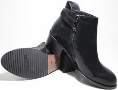 Ботильоны кожаные черные на толстом низком каблуке