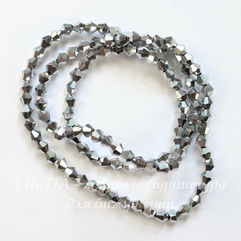 Бусина стеклянная, биконус, цвет - серебряный, 4 мм, нить