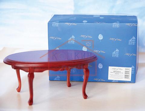 """Кукольная миниатюра Art of Mini  """"Овальный обеденный стол"""" махагон"""