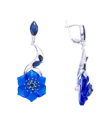 Серьги с цветами из синего кварца и сапфиром Арт.2211сс