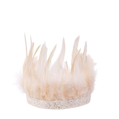 Праздничная корона с перьями, розовая