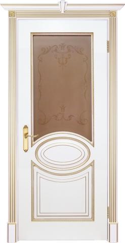 Дверь Prestigio Лувр-4, цвет шпон эмаль белая/патина золото, остекленная