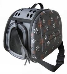 Складная сумка-переноска для собак и кошек до 6 кг, Ibiyaya, серая в цветочек