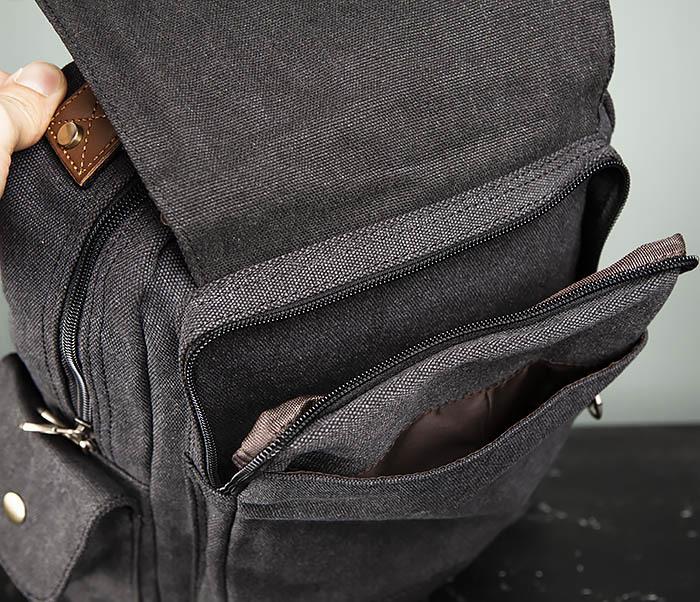 BAG394-1 Черный компактный рюкзак с одной лямкой через плечо фото 12