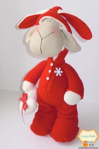 """Пижамная овечка """"зайчик"""" красный"""