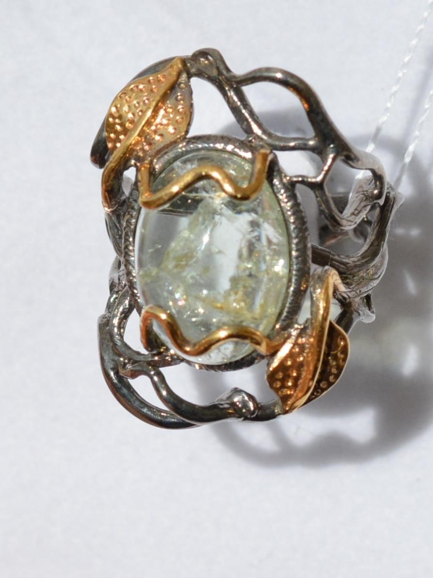 Флора-аквамарин (серебряное кольцо с позолотой)