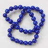 Бусина Жадеит (тониров), шарик, цвет - синий, 10 мм, нить (темный)