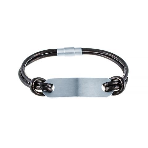 Кожаный браслет с пластиной JV 232-0118