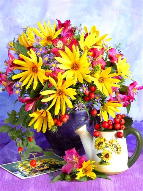 Картина раскраска по номерам 40x50 Букет цветов и ягоды в ...