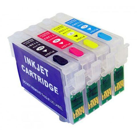 Перезаправляемые картриджи Epson SX130, S22 (T1281-T1284), Комплект 4 шт, с чипами