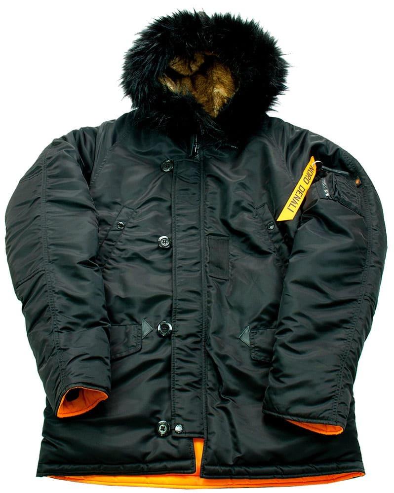 Куртка Аляска  укороченная Husky Short Denali (черная - black/orange)